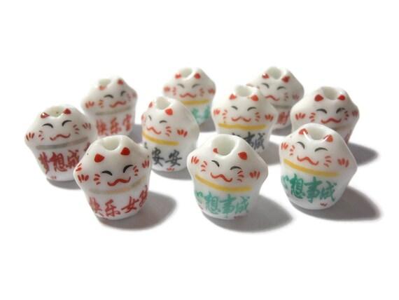Maneki Neko beads, 10 piece lot, lucky cat beads, beckoning cats, ceramic small beads, Kawaii cat beads, porcelain beads, red green or black