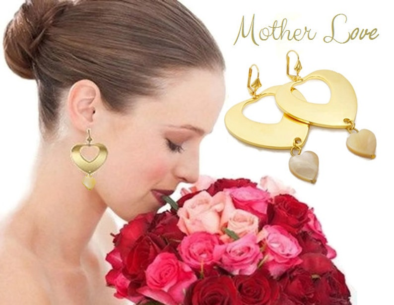 Large heart earrings gold plated Mother of Pearl heart image 1