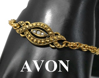 Avon rhinestone bracelet, 1992 Heirloom Classic rhinestone and faux marcasite rope chain infinity bracelet, gold-tone
