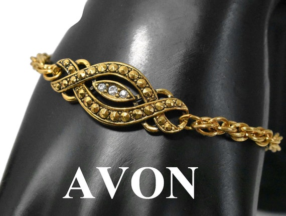 Avon rhinestone bracelet, 1992 Heirloom Classic rhinestone and faux marcasite rope chain infinity bracelet, gold-tone