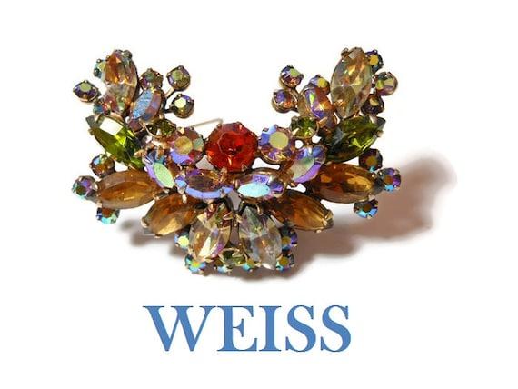 Weiss rhinestone brooch Aurora Borealis mixed Austrian crystal rhinestones brooch