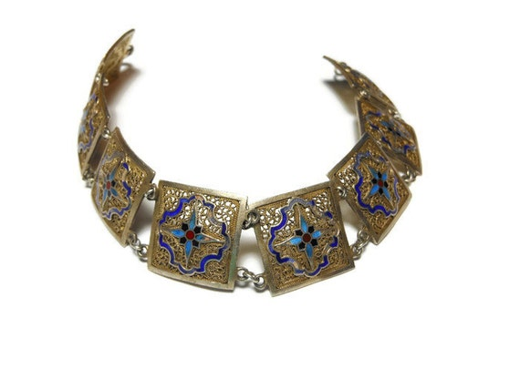 Cloisonne bracelet, vermeil over sterling, gold washed art deco 1930s enamel cobalt blue, blue red flowers filigree panels