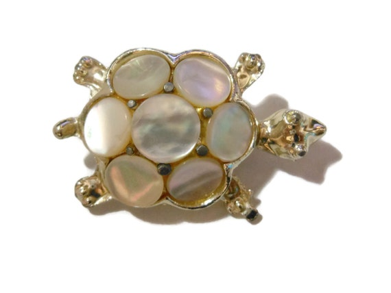 Mother of Pearl turtle brooch, MOP silver tone pin, scatter pin