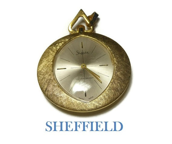 Sheffield watch pendant - Swiss Made, shock resistant brushed gold wind up necklace in working condition