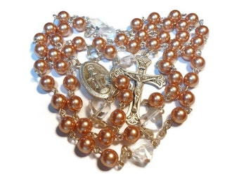 Catholic sterling rosary Swarovski crystal rose gold pearls, Swarovski heart Pater beads, Miraculous Medal crucifix, handmade