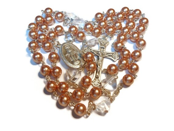 Catholic sterling rosary Swarovski crystal rose gold pearls, Swarovski heart Pater beads, Miraculous Medal crucifix