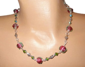 Lampwork wire wrapped necklace, handmade sterling silver cranberry beads, Swarovski dark moss green Aurora Borealis crystals