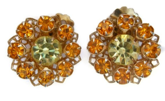 Juliana style earrings, amber and yellow rhinestone prong set clip earrings perfect for wedding or prom