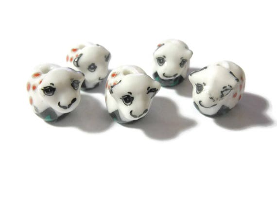 Porcelain calf beads, 5 piece lot, red and black matching lot, ceramic small beads, Kawaii cow beads, baby cow beads