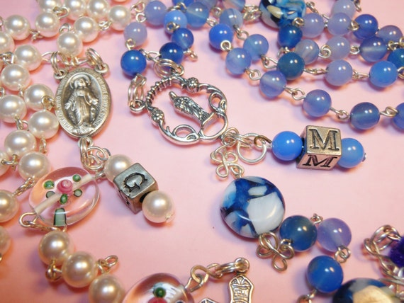 FREE SHIPPING Personalize your rosary with matching beaded initial charm add on