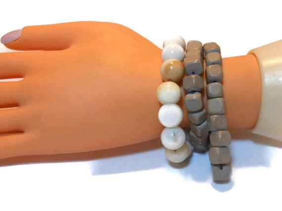 Bead stretch bracelet, natural gemstone, your choice of one 12mm round white bracelet or 8mm square grayish brown, wear or use the beads!