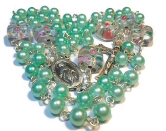 Green glass pearl rosary beads 'Minted Love' mint pearls, lampwork rose Paters, sterling silver wire, center and crucifix, handmade