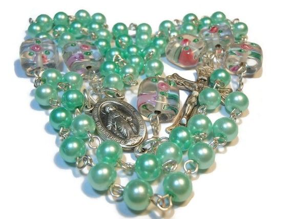 Green glass pearl rosary beads 'Minted Love' mint pearls, lampwork rose Paters, sterling silver wire, center and crucifix