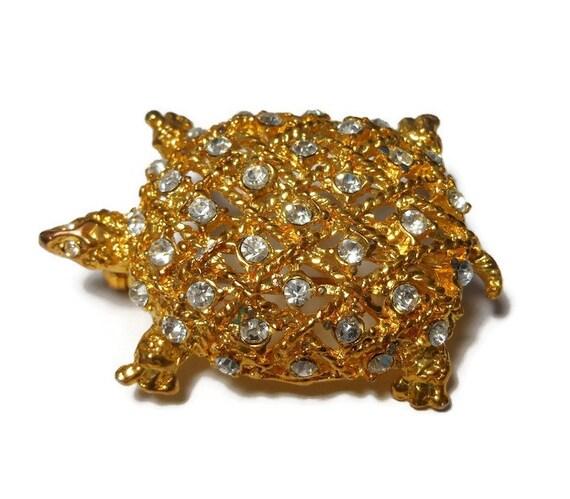 Rhinestone turtle brooch, clear rhinestone studded gold turtle pin, open work