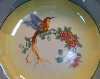 Rudolstadt exotic bird bowl, made in Germany B in crest crown over, red and blue bird on twig with flowers, yellow background, blue border