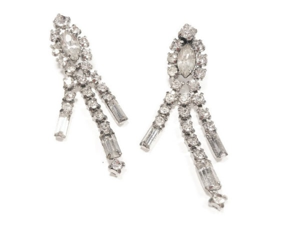 Rhinestone dangle earrings screw back, prong set Marquise and Baguettes, Clear rhinestone dangle free swinging earrings