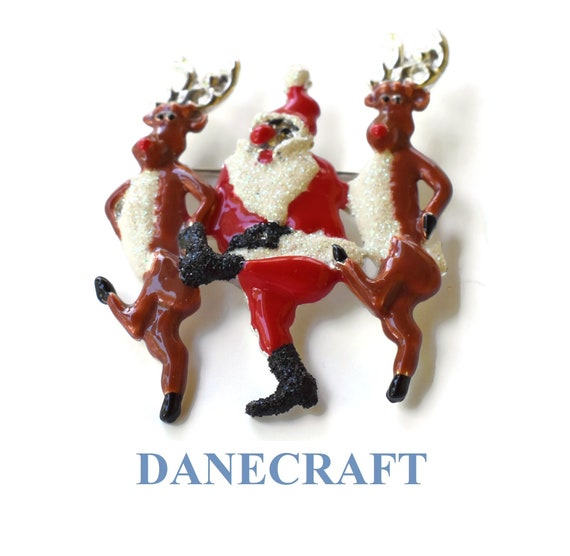 Danecraft Santa reindeer pin, Santa Claus and two reindeers dancing brooch (too much holiday cheer - red noses?) glitter and silver trim
