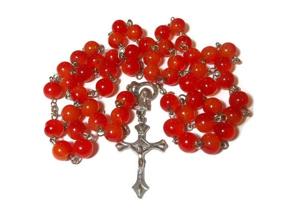 Faux Carnelian Rosary, red orange painted glass beads, silver tone crucifix and Virgin Mary/Sacred Heart center piece