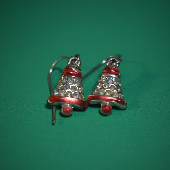 Tiny bell earrings, enamel bells, holiday mid century, Christmas hooks, clear rhinestone and red enamel, french hooks