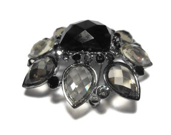 Louis Dell'Olio brooch, gunmetal floral brooch, grey and black rhinestones, pear shape leaves and square center, resin