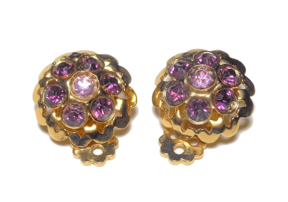 Purple rhinestone earrings,  amethyst and lilac, domed faceted round, gold tone clip earrings