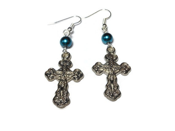 Orthodox Crucifix Earrings, handmade Russian Orthodox silver plated with teal Swarovski glass pearl, cross pierced dangle earrings.