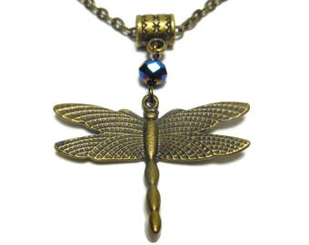Dragonfly necklace handmade, antiqued bronze dragonfly pendant, blue aurora borealis crystal, antiqued bronze cable chain, 2 available