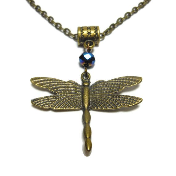 Dragonfly necklace handmade, antiqued bronze dragonfly pendant, blue aurora borealis crystal, antiqued bronze cable chain