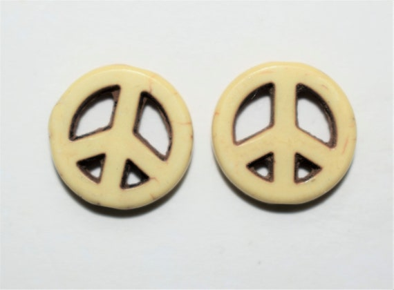 "Bead, ""howlite"" (resin) (imitation), yellow, 15mm peace sign. Sold per pkg of 2, earrings, necklace, charm, pendant, bracelet, handmade gift"