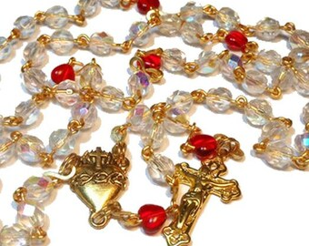 """Aurora Borealis rosary """"Northern Lights"""" gold plated wire, AB beads , red heart Pater beads, gold plated center and crucifix, handmade"""