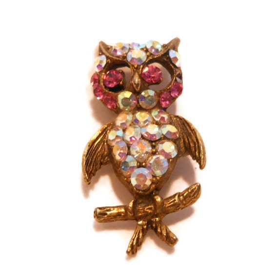 AB rhinestone owl Aurora Borealis with pink highlights