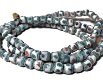 """African Ghana necklace or waist beads, vintage sandcast glass trade bead necklace, 39"""" long, green edging red green brown blue dots on white"""