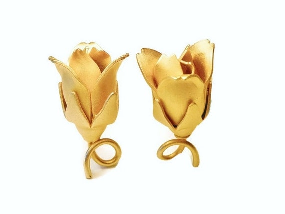 Rosebud clip earrings, satin finish gold plated rose earrings