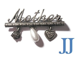 Mother brooch pin, rare Spoontiques JJ Jonette Jewelry signed Mother pin with heart, flower and faux pearl in pewter