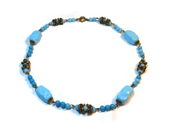 Blue lampwork choker, 1940s opaque turquoise glass beads with brass embellishments, believed to be Italian