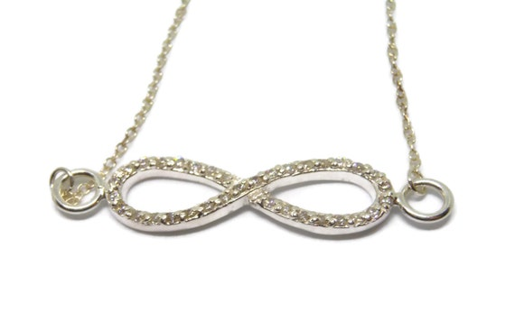 Sterling infinity necklace, sterling silver 925 chain, sterling infinity link charm, pave cubic zirconia, great for bride!, handmade