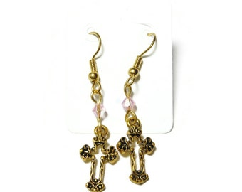Small cross earrings, gold tone Fleury crosses, gold plated french wires, pink Swarovski crystals, dangle earrings, handmade