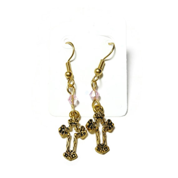 Small cross earrings, gold tone Fleury crosses, gold plated french wires, pink Swarovski crystals, dangle earrings