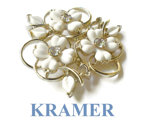 Kramer floral brooch, rare dogwood brooch with white lucite leaves and petals, rhinestone centers, gold-tone trefoil design, 1940s 1950s
