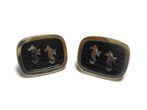 Kreisler Craft Seahorse cuff links, gold with black wave background, mid century great for a destination wedding vintage