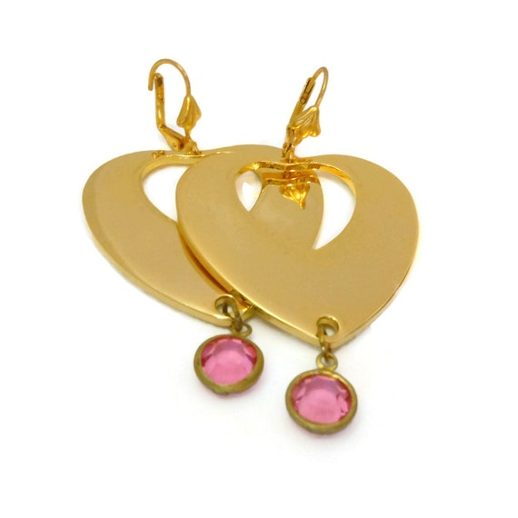 Large heart earrings, gold plated hearts, faceted crystal dangle, lever back pierced, wedding party, Valentine's Day, 13 color choices