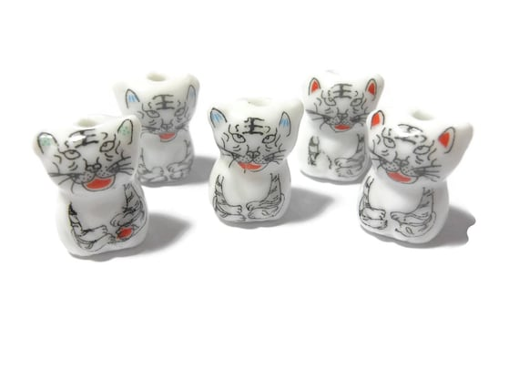 Porcelain snow leopard beads, 5 piece lot, black white, big cat drop, ceramic small beads, Kawaii leopard beads, Kanji Japanese symbols