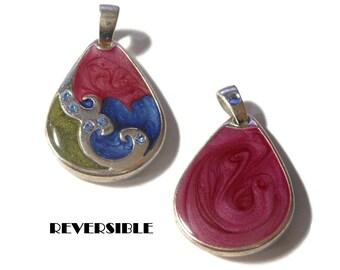 Edgar Berebi style pendant, 1980s blue green mauve swirls, reversible teardrop, silver enamel, epoxy marbling, rhinestone wave accents