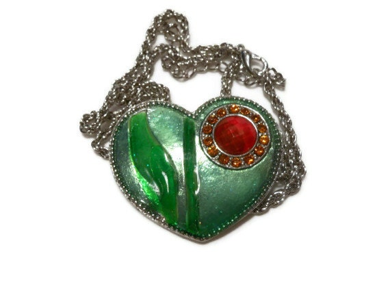 Interchangeable heart necklace brooch, Emerald Green enamel pin with amber orange circle inset surrounded by rhinestones