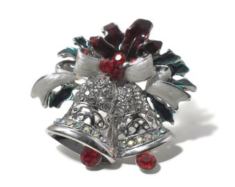 Christmas bells brooch pendant, silver bells with red moveable clappers, with a white enamel bow and red holly, clear red and AB rhinestones
