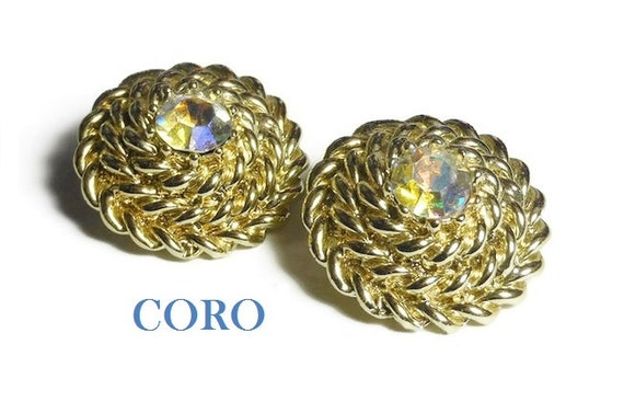 Coro BOOK PIECE earrings, Rhinestone rope clip-on 1950s, 1960s Aurora Borealis AB crystal earrings great for wedding, coiled rope 'Haystack'