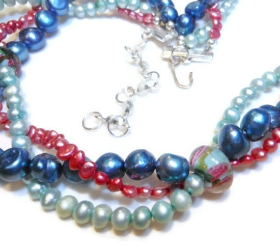 Freshwater Cultured Pearl necklace, Colorful 3 strand twisted necklace with extender, handmade