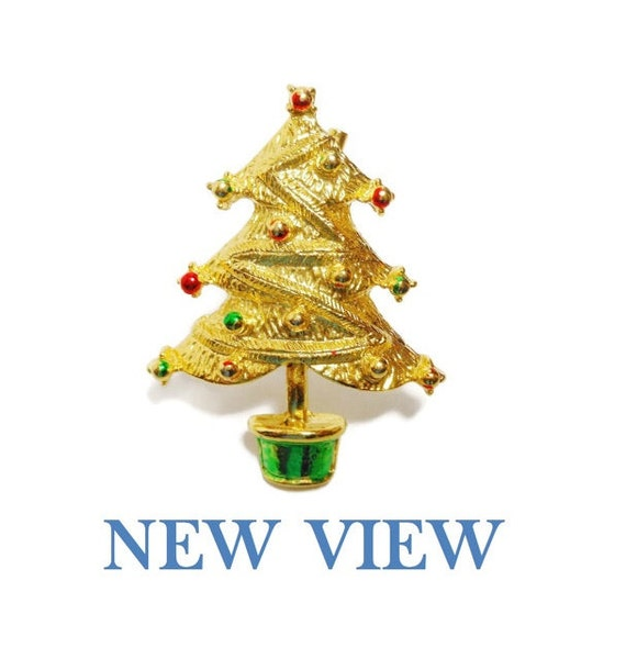 FREE SHIPPING New View Christmas Tree Brooch, green and red enamel over gold tone, enamel ornaments