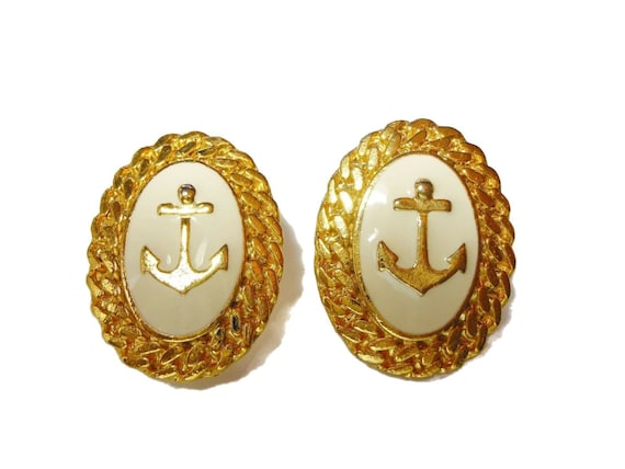 Anchor earrings, gold tone and winter white, oval cabochon with anchor,  creamy beige border, gold rope rims, nautical clips