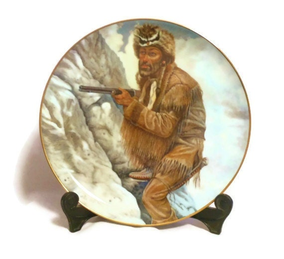 Gregory Perillo collector plates, rare complete set of Legends of the West Series 1982 Daniel Boone, Davy Crockett, Kit Carson, Buffalo Bill